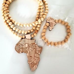 Wooden Africa Necklace and Bracelet